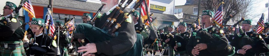 pipes and drums of the jersey shore march in the 2010 belmar st. patrick's day parade