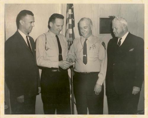 Dr Judge, Lt Sylvester, Chief Hurden Mayor Heine 228191966